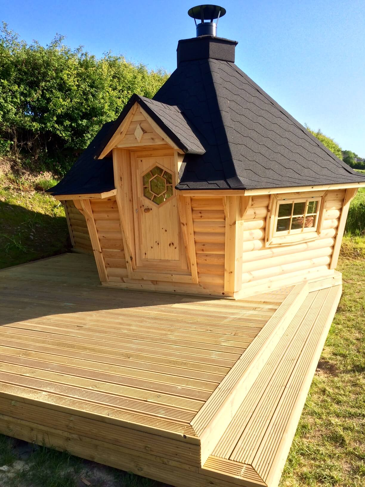 Grill cabin with 2m extension installation carr bank for Log cabin extensions