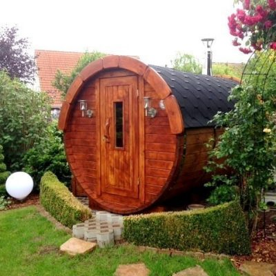 2.4m Wooden Barrel Sauna