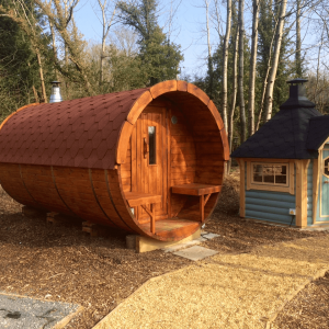 4m Wooden Barrel Sauna with Changing Room