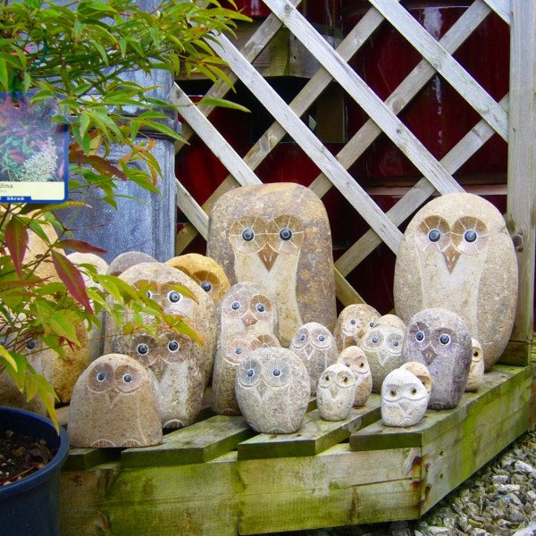 Hand Carved Stone Owl Ornaments