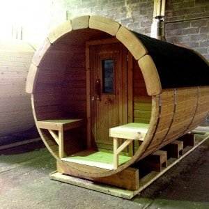 3m Wooden Barrel Sauna with Porch