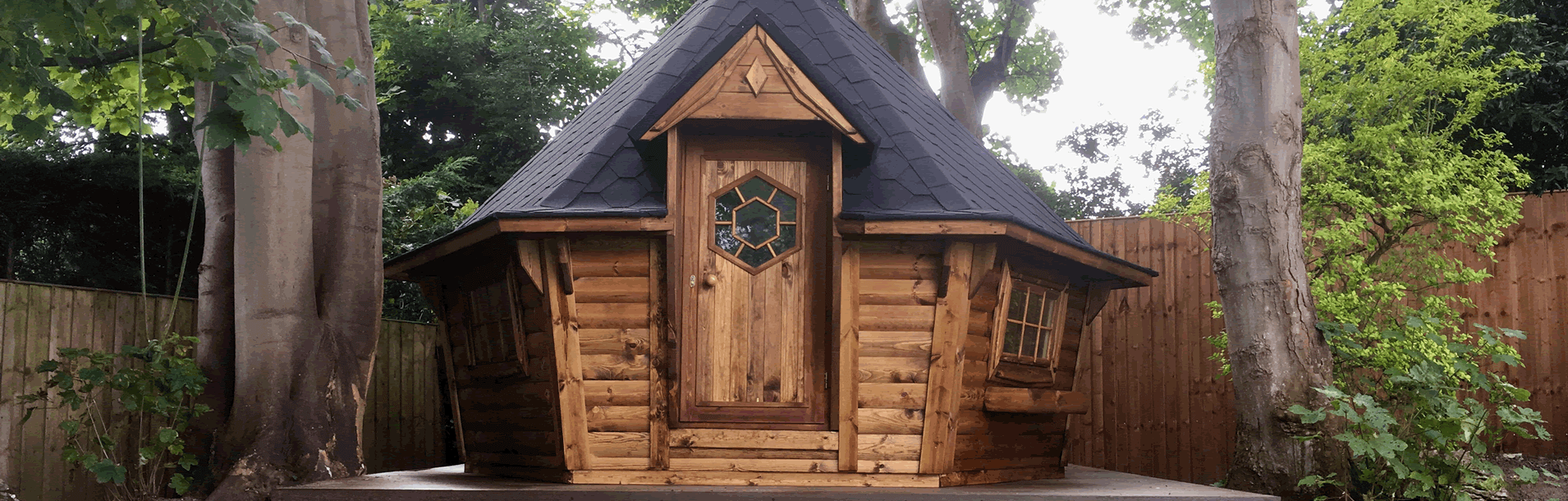 10m Sloping Wall Barbecue Cabin from Carr Bank Garden Centre