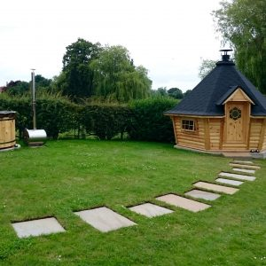 10m Sloping Wall Barbecue Cabin & Wooden Hot Tub