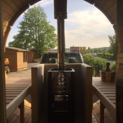 View from inside our Panoramic Barrel Sauna
