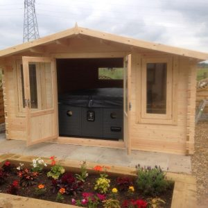 Crossley Log Cabin with Hot Tub inside
